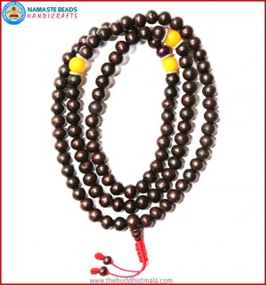 Dark Wood Mala with Resin Amber Beads