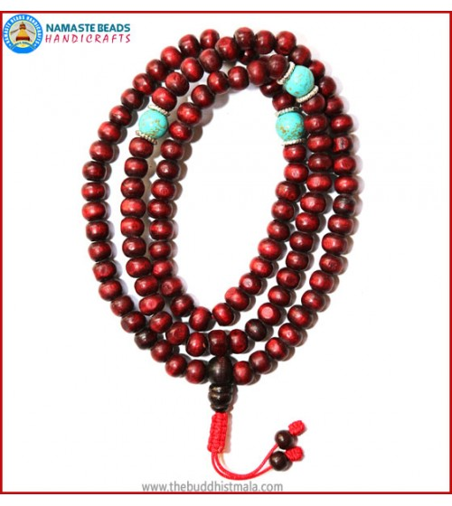 Red Wood Mala with Turquoise Beads