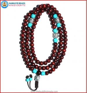 Rose Wood Mala with Buddha Head Beads
