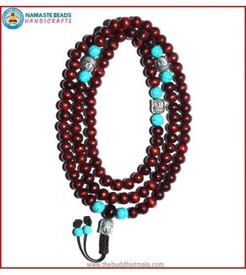 Rose Wood Mala with Buddha Head Beads