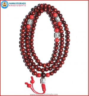 Rose Wood Mala with Coral & Buddha Head Beads