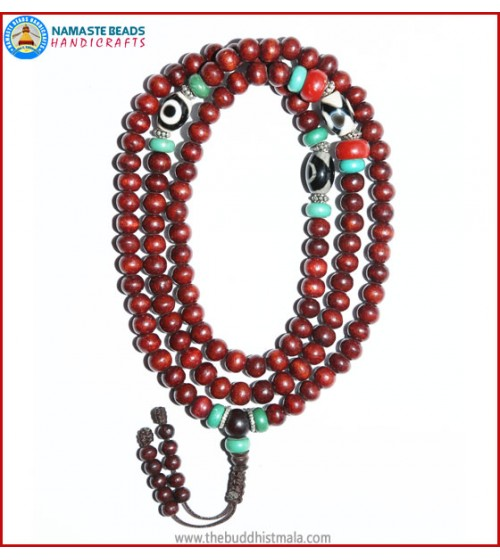 Rose Wood Mala with Dzi Beads