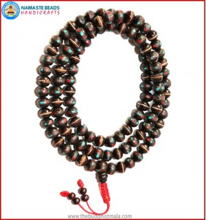 Dark Wood Mala with Inlays Coral & Turquoise