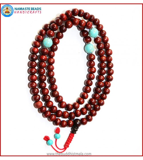 Rose Wood Mala with Turquoise Beads