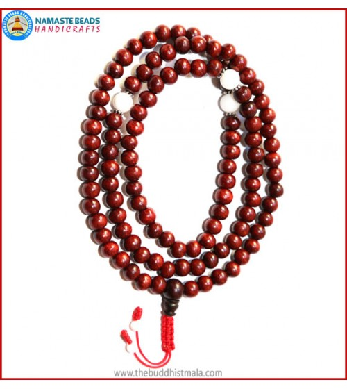 Rose Wood Mala with Conch Shell Beads