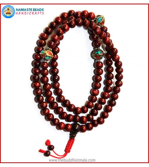 Rose Wood Mala with Metal Inlays Beads