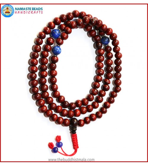 Rose Wood Mala with Lapis Lazuli Beads