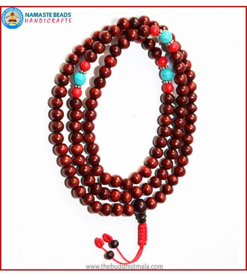 Rose Wood Mala with Coral & Turquoise Spacer Beads