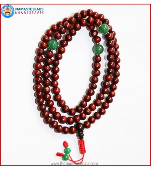 Rose Wood Mala with Green Jade Spacer Beads