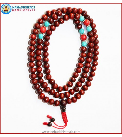 Rose Wood Mala with Turquoise & Coral Spacer Beads