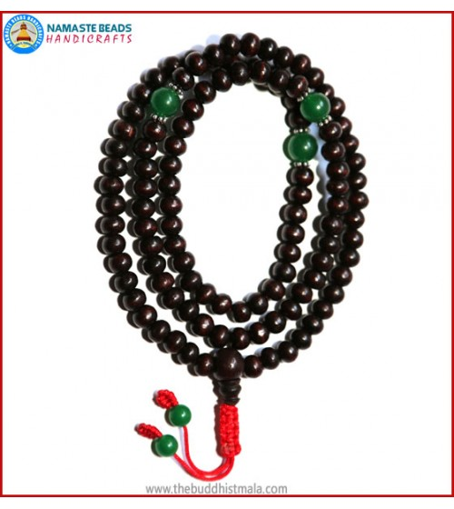 Rose Wood Mala with Green Jade Beads
