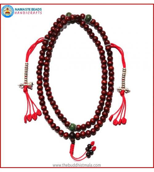 Rose Wood Mala with Silver Mala Counter