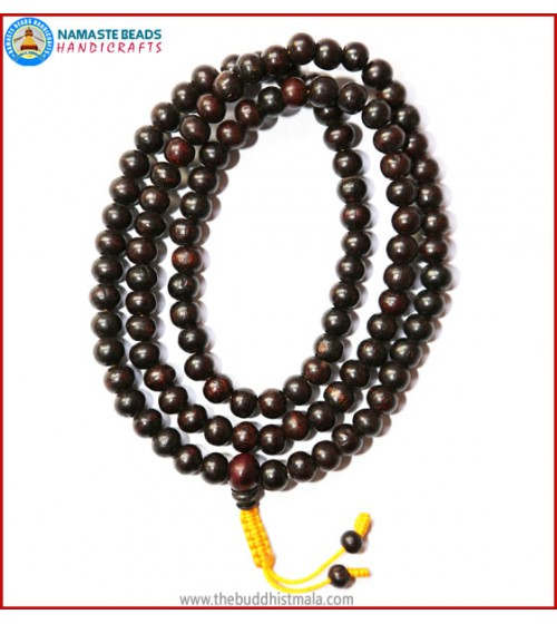 Rose Wood Mala in Yellow String