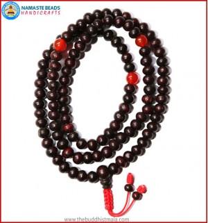 Rose Wood Mala with Carnelian Beads