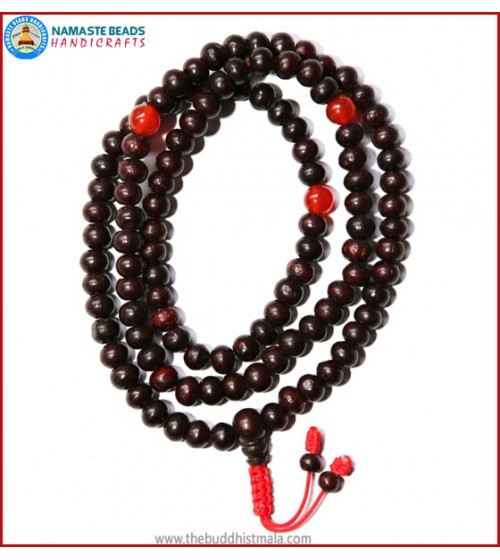 Rose Wood Mala with Carnelian Beads