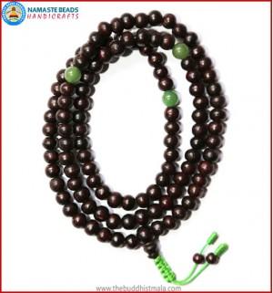Rose Wood Mala with Green Jade Beads