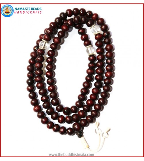 Rose Wood Mala with Crystal Spacer Beads
