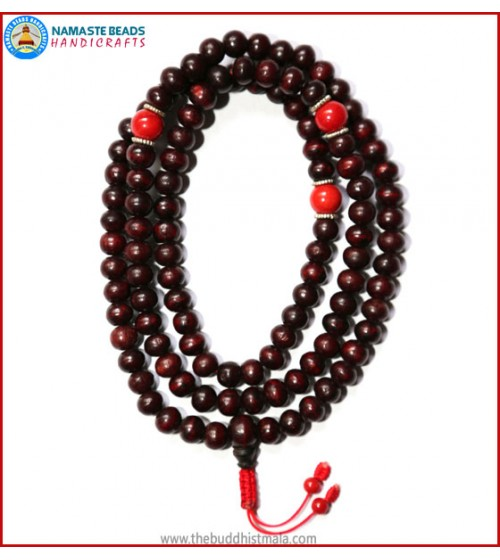 Rose Wood Mala with Coral Spacer Beads