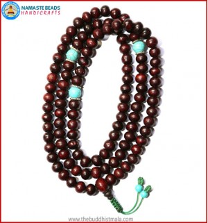 Rose Wood Mala with Turquoise Spacer Beads