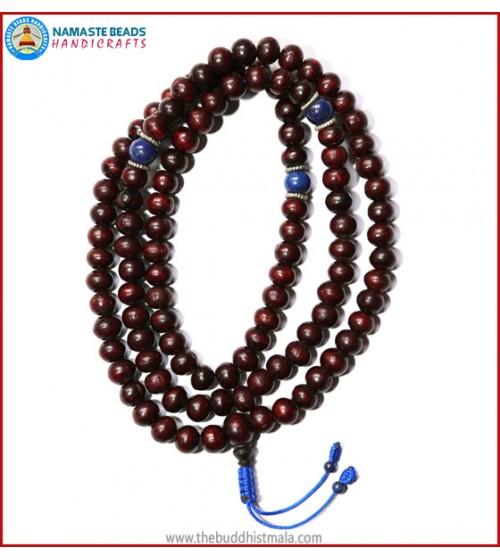 Rose Wood Mala with Lapis Lazuli Spacer Beads