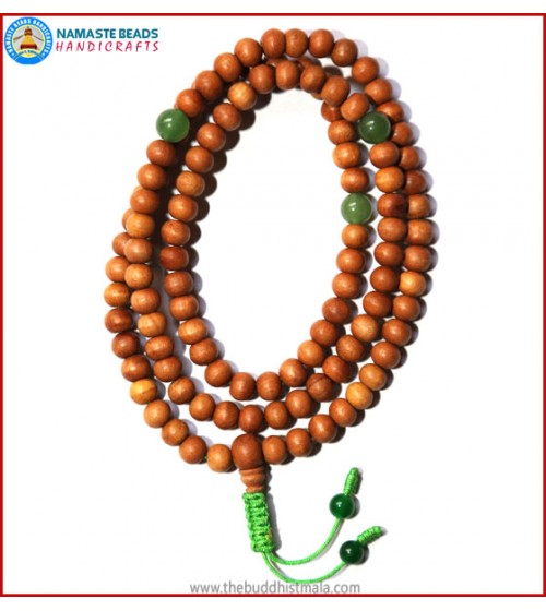 Sandal Wood Mala with Green Jade Spacer Beads