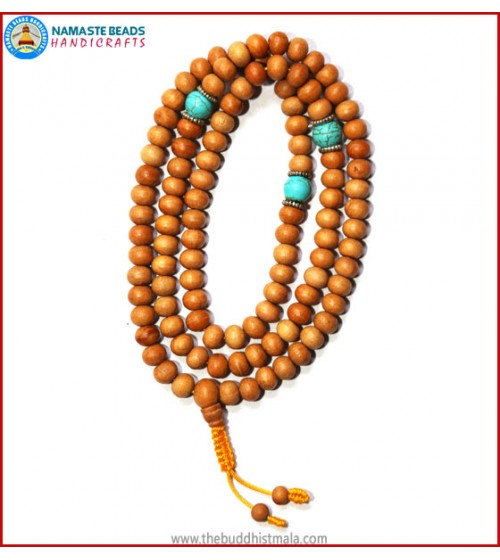 Normal Wood Mala with Turquoise Spacer Beads