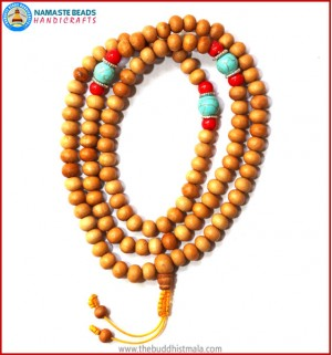 Normal Wood Mala with Coral & Turquoise Beads