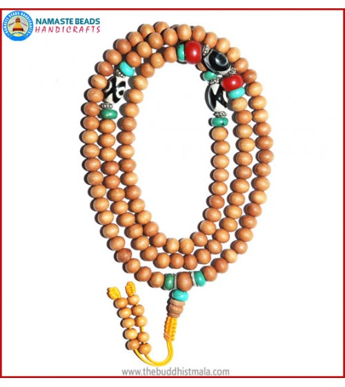 Sandal Wood Mala with Tibetan Dzi Beads