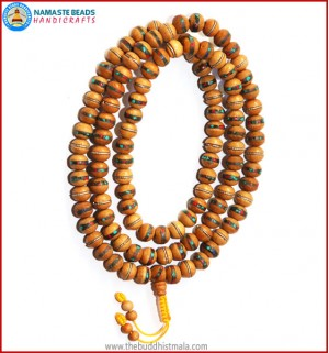 Normal Wood Mala Inlays Coral & Turquoise