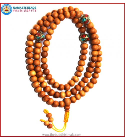 Sandal Wood Mala with Metal Inlays Beads