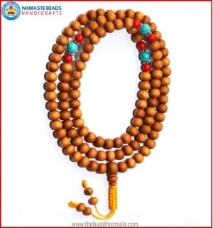 Sandal Wood Mala with Coral & Turquoise Beads