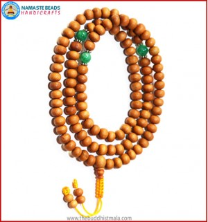 Sandal Wood Mala with Jade Beads