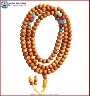 Sandal Wood Mala with Turquoise & Coral Beads