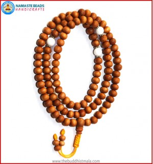 Sandal Wood Mala with Conch Shell Beads