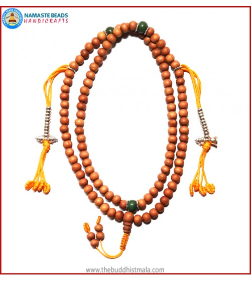 Sandal Wood Mala with Silver Mala Counter
