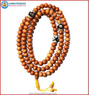 Sandal Wood Mala with Dzi Beads