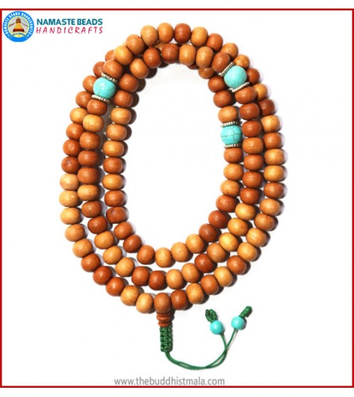 Sandal Wood Mala with Turquoise Beads