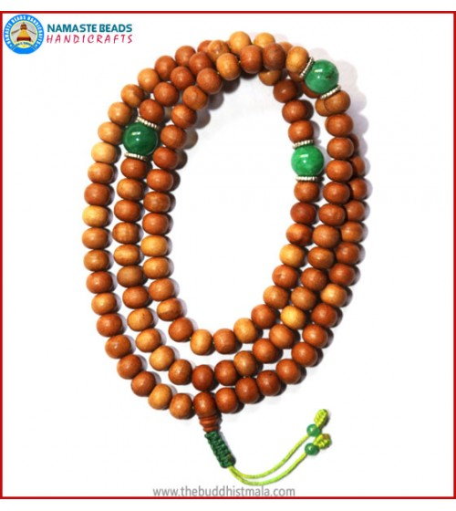 Sandal Wood Mala with Green Jade Beads