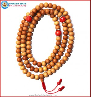 Sandal Wood Mala with Coral Beads
