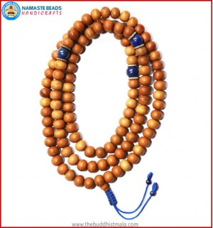 Sandal Wood Mala with Lapis Lazuli Beads