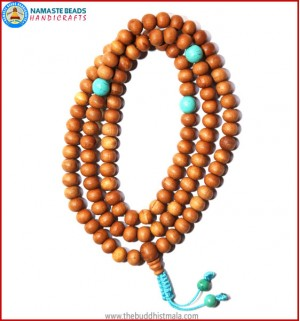Sandal Wood Mala with Turquoise Spacer Beads
