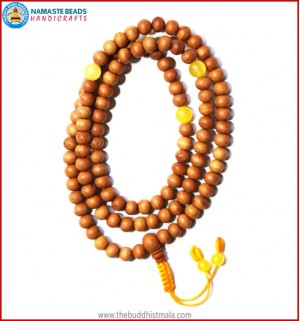 Sandal Wood Mala with Yellow Jade Spacer Beads