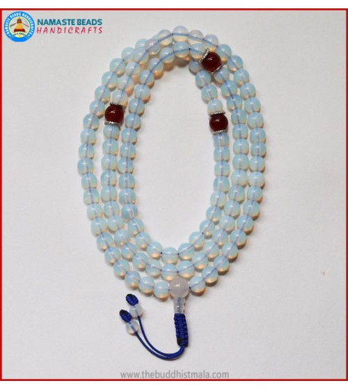 Opalite Mala With Carnelian Spacer Beads