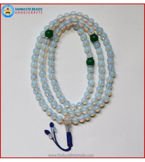 Opalite Mala With Jade Spacer Beads