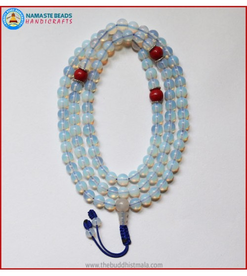 Opalite Mala With Coral Spacer Beads