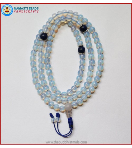 Opalite Mala With Lapis Lazuli Spacer Beads