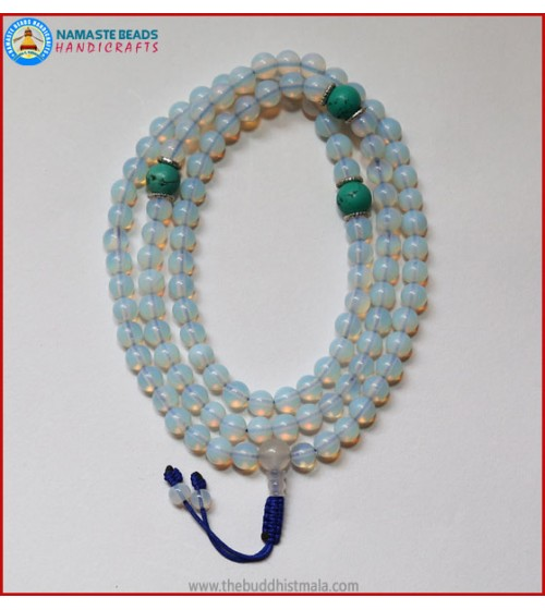 Opalite Mala With Turquoise Spacer Beads