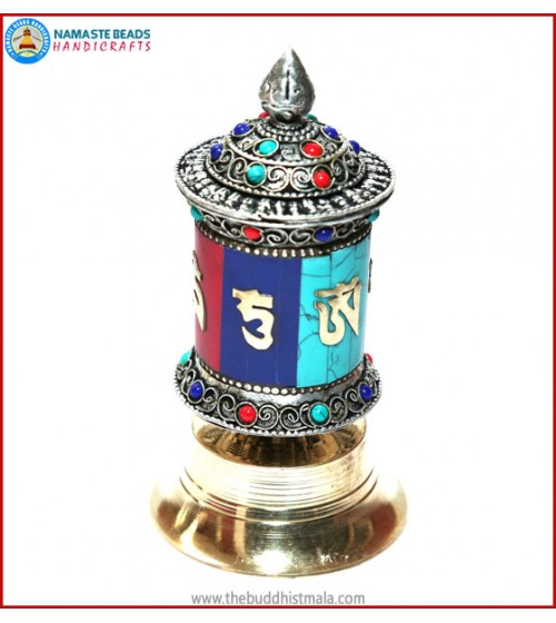 Mantra Carved Table Prayer Wheel