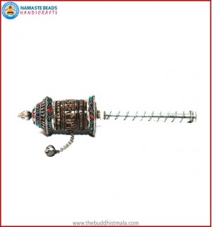 Mantra Carved Yak Bone Prayer Wheel