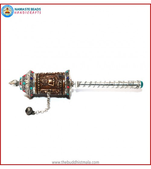 Buddha Carved Yak Bone Prayer Wheel